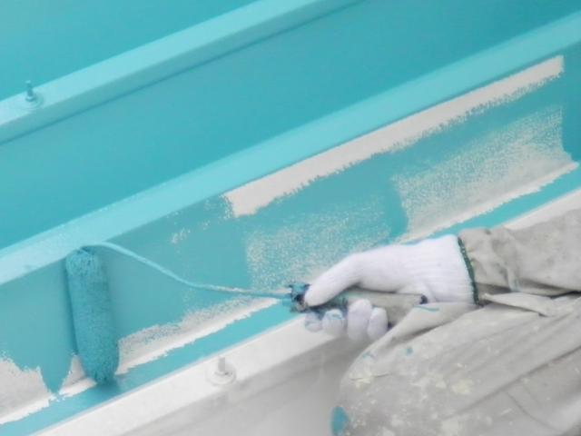 折り板屋根(鉄部)の塗装