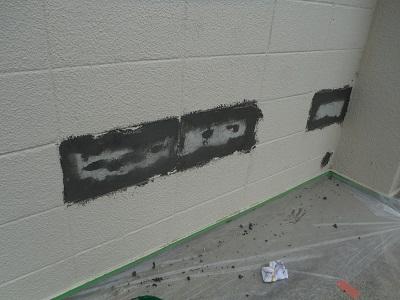 旧塗膜の端末モルタル補修